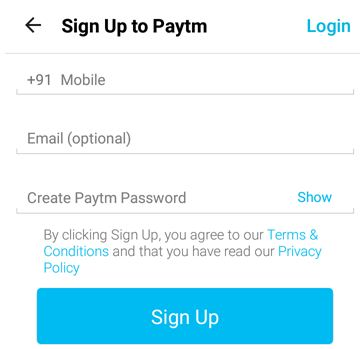 Paytm Sign Up Page