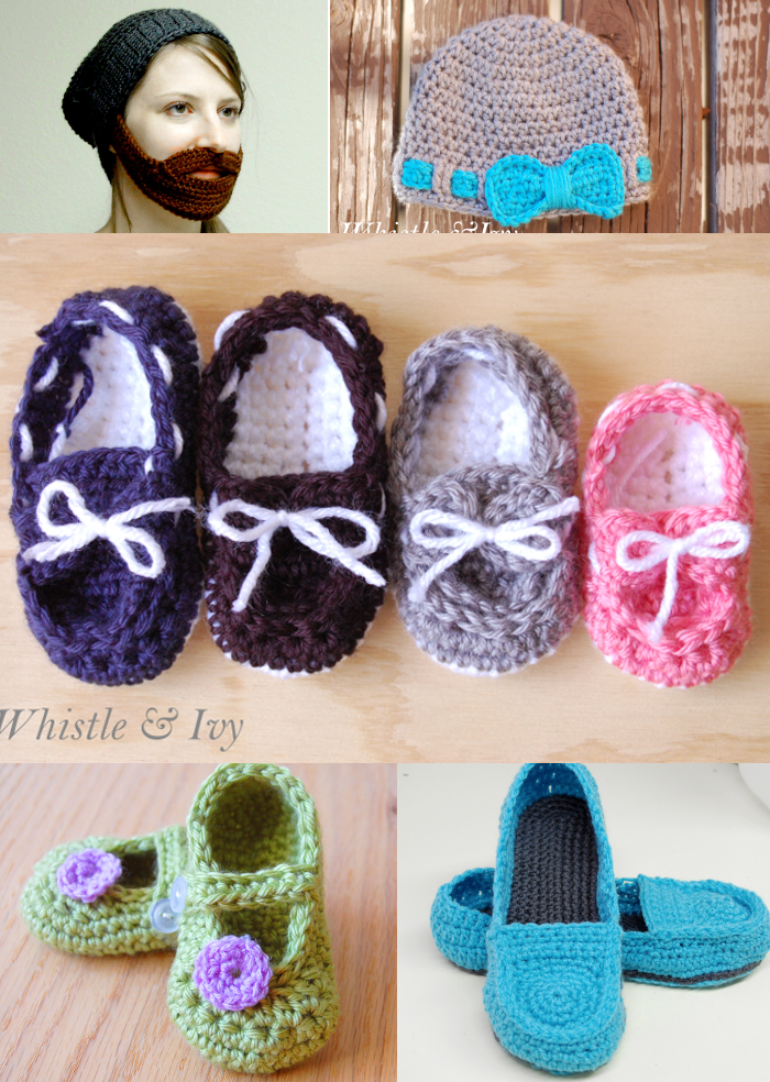 Top 5 free patterns baby hat, baby boat booties, barba beanie, women's loafer slippers, little dot maryjanes