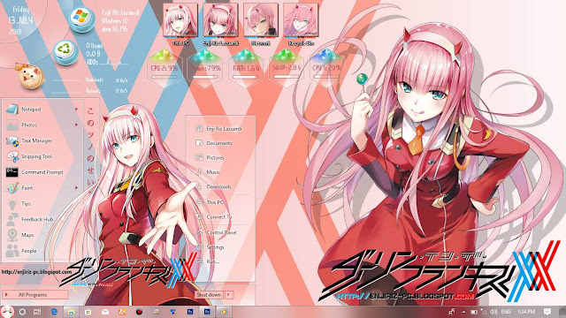 Windows 10 Ver. 1709 Theme Darling in the FranXX by Enji Riz