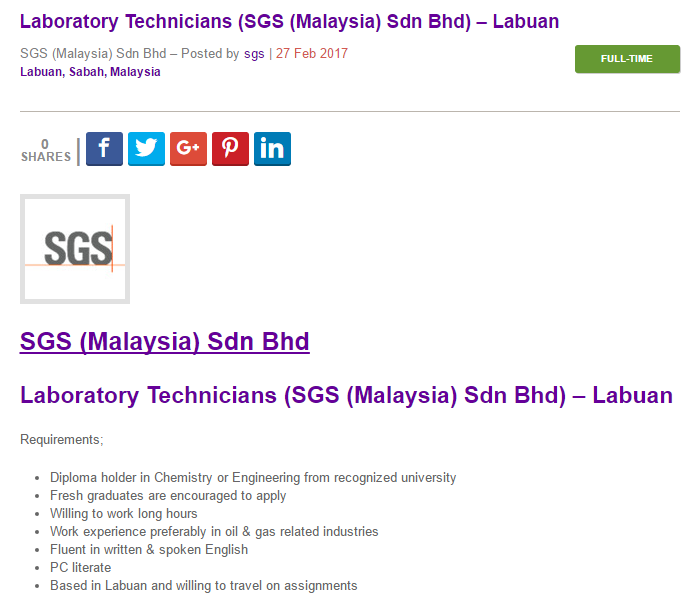 Oil Gas Vacancies Laboratory Technicians Sgs Malaysia Sdn Bhd Labuan