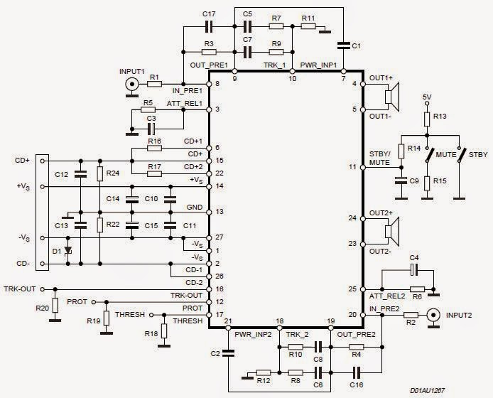 Digital Stereo Power Amplifier IC 2x70 Watt Circuit Diagram