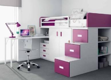 Habitaciones con la cama arriba del escritorio for Camas juveniles con escritorio incorporado