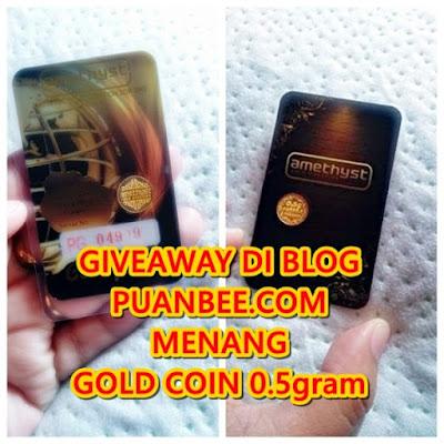 Saya nak menang gold coin 0.5g dari blog puanbee.com