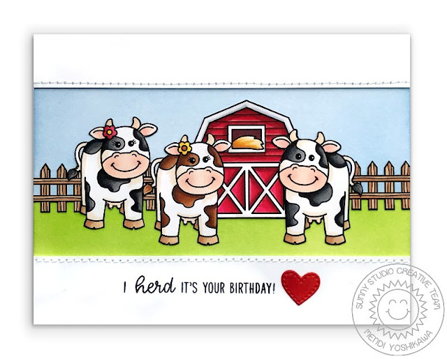 Sunny Studio Stamps: Miss Moo Cow Themed Birthday Card (also using Barnyard Buddies Stamps)