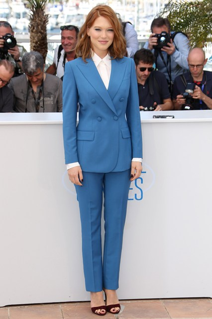Lea Seydoux in a blue Prada suit and Maroon heels at Cannes 2014