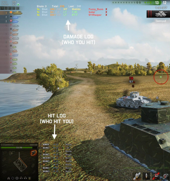 Gox World Of Tanks mods: 9 10 Grandpa's Damage and HitLog