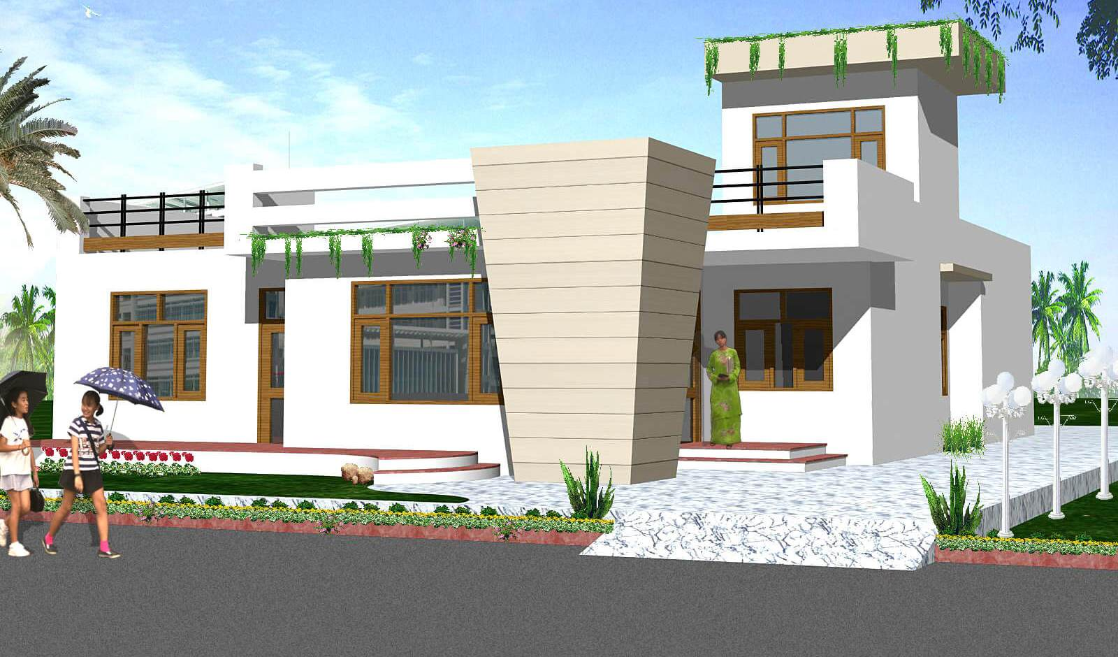 Single House Front Elevation Models : House front elevation single story d design photo picture