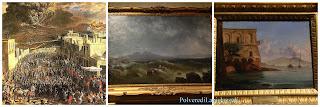 Varie dipinti su tela che mostrano le violente eruzioni del vulcano napoletano