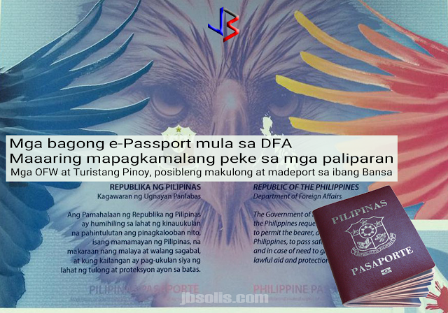 "A government watchdog and anti-corruption advocate Action for Good Governance has raised the alarm about the possibility of Filipino travelers getting detained and deported back to the Philippines after they have discovered alleged unauthorized changes in materials and security features of the new digital passport or e-passport.  The group's convenor, Atty. Argee Guevarra, argues that the quality of the new batch of passports are substandard. He showed a leaf from a supposed newly printed passport given to him by his informant, saying the new print is thinner and the embedded watermarks are not that clear.  This apparent change may cause the passports to be suspected as fake or forgeries and will not pass the reading machines at airports locally and internationally. This might result in possible detention and deportation of Filipino passport holders. The scenario would be ""a nightmare"" for OFWs who may end up jobless and detained abroad.  The DFA, under former Sec. Alberto del Rosario, touted the new e-passport in 2016. The new design was unveiled during former President Aquino's visit to the Asian Productivity Organization - Production Unit's high-security printing plant at Lima Technology Center in Batangas, which currently prints the BIR's excise stamps. APO-PU later granted United Graphic Expression Corporation, a private company, a ten-year P39 Billion contract to print 150,000 to 200,000 new passports and renewals annually.  The passport's electronic covers which contain the chip are being assembled in Europe, while booklet printing is being done by the Bangko Sentral ng Pilipinas and the personalization by the Department of Foreign Affairs. A whistle-blower allegedly told Guevarra that the APO-PU UGEC deal was without DFA permission - at a time when the backlog for passport applications were at its height.  Upon his appointment as DFA Secretary under President Duterte, Sec. Perfecto Yasay has considered the APO-PU deal with UGC anomalous. Only three entities are supposed to handle the printing of passports - the Bangko Sentral ng Pilipinas, the National Printing Office, and the Asian Productivity Organization-Production Unit. Yasay did not get confirmation as DFA Secretary. President Duterte then appointed Senator Alan Peter Cayetano to the post.  Guevarra has asked Foreign Affairs Secretary Alan Peter Cayetano to look into the issue. The secretary is considering a review, however the passports with questionable materials are scheduled for release in the next few months.  Among the security features in the new e-Passport is the use of a latent image which is visible only when the document is viewed at a certain angle, ultraviolet ink only visible under UV light, watermark, the use of a different security background design for every visa page to prevent VISA page tampering, and laser perforation for the unique document number perforate on the passport's inside pages.  It uses the intaglio printing technique which is usually used in printing paper money.  ""The unique formulation and design of these materials are security features in themselves, much like the paper and ink used for Philippine currency,"" Guevarra said in his statement."