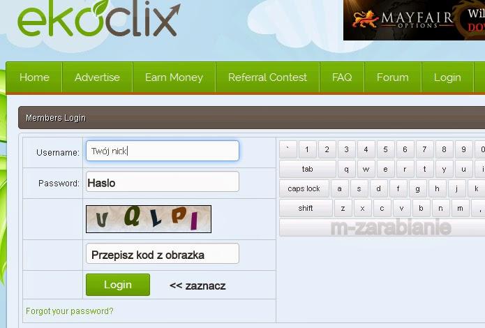 EkoClix - logowanie