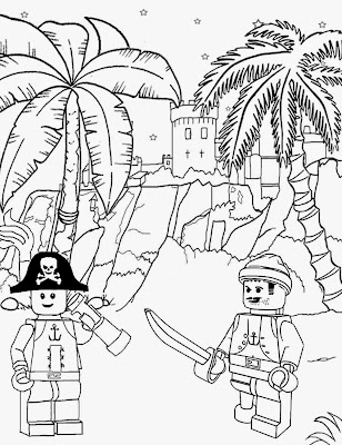 Long John Silver sea pirate castle Lego sailor Treasure Island printable Lego city coloring sheets