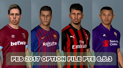 PES 2017 PTE Patch Unofficial 6.5.3 Option File 10/01/2019