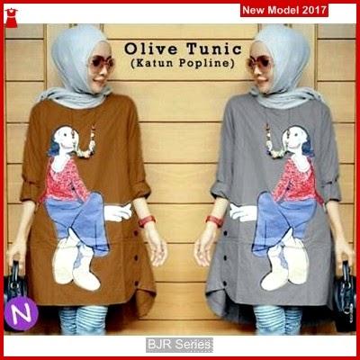 BJR155 H Olive Tunic Wanita Dewasa Murah Grosir