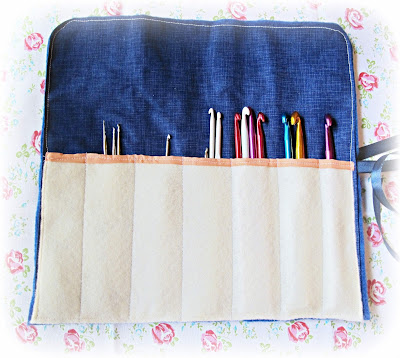 image embroidered crochet hook roll vintage doily navy blue cream