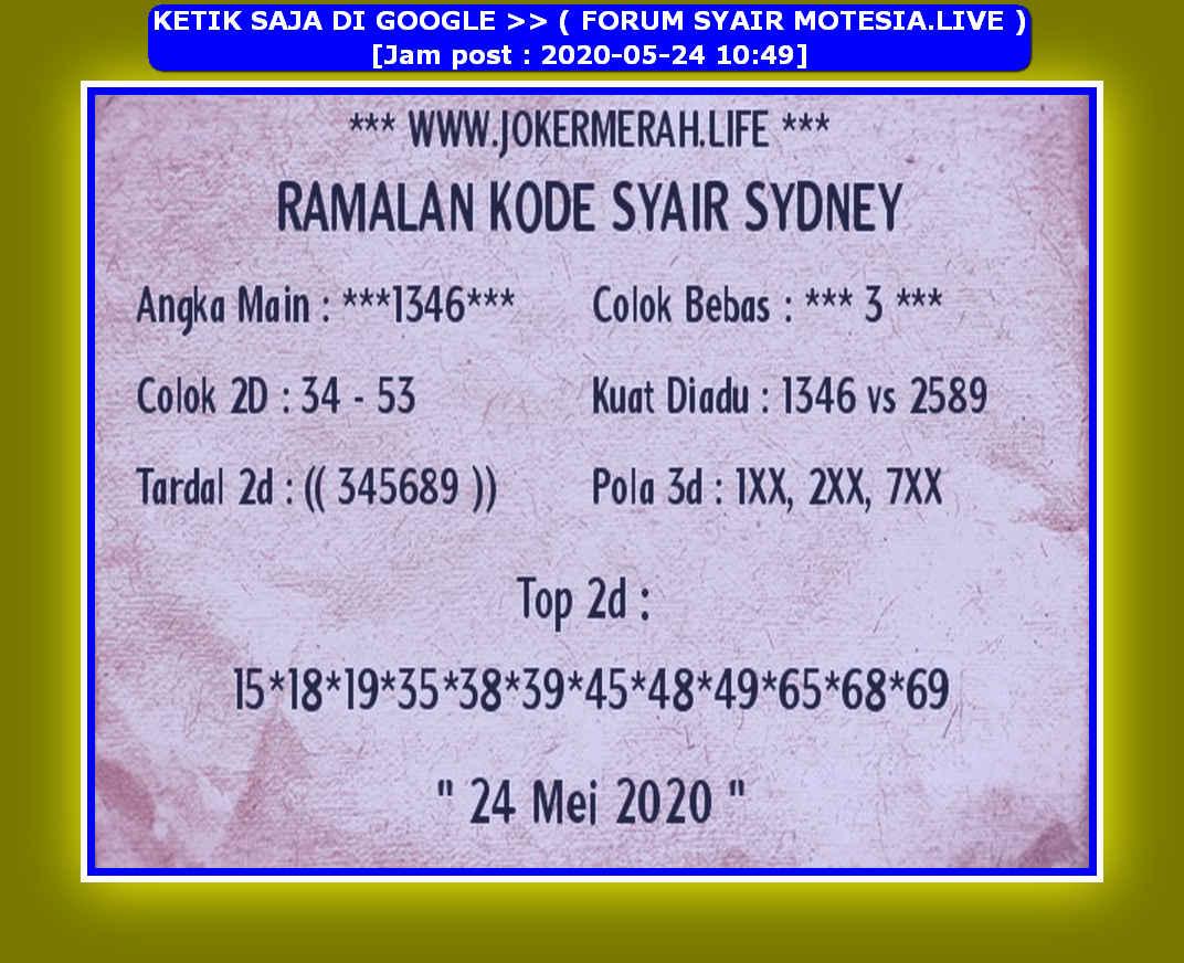 Kode syair Sydney Minggu 24 Mei 2020 147