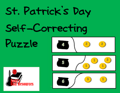 Free self correcting puzzle for St. Patrick's Day - counting money - from Raki's Rad Resources.