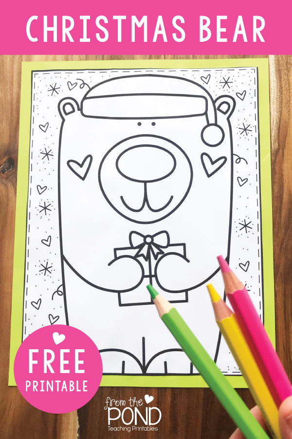 Coloring Page Christmas Bear Free