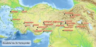 Anadolu'da İlk Yerleşim Yerleri Haritası