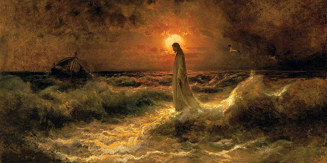 Painting of Christ Walking on the Waters by Julius von Klever