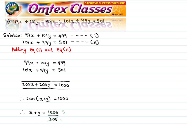 Solve the following simultaneous equations 99x + 101y = 499; 101x + 99y = 501