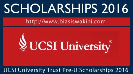UCSI University Trust Pre-U Scholarships 2016