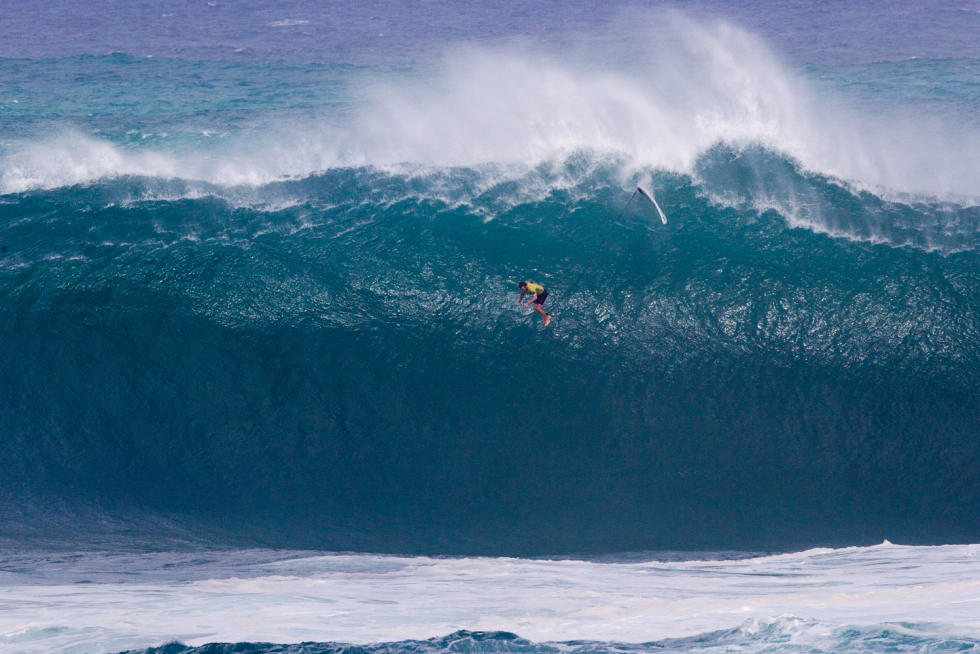 Big Wave Champ Takes a Big Wave Fall