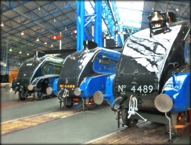 Three A4s at the National Railway Museum, York
