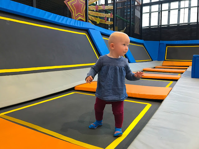 A 1 year old on a trampoline at Better Extreme Waltham Forest