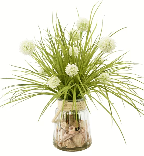 Artificial Floral Arrangement Glass Vase Filled with Shells Rope Design
