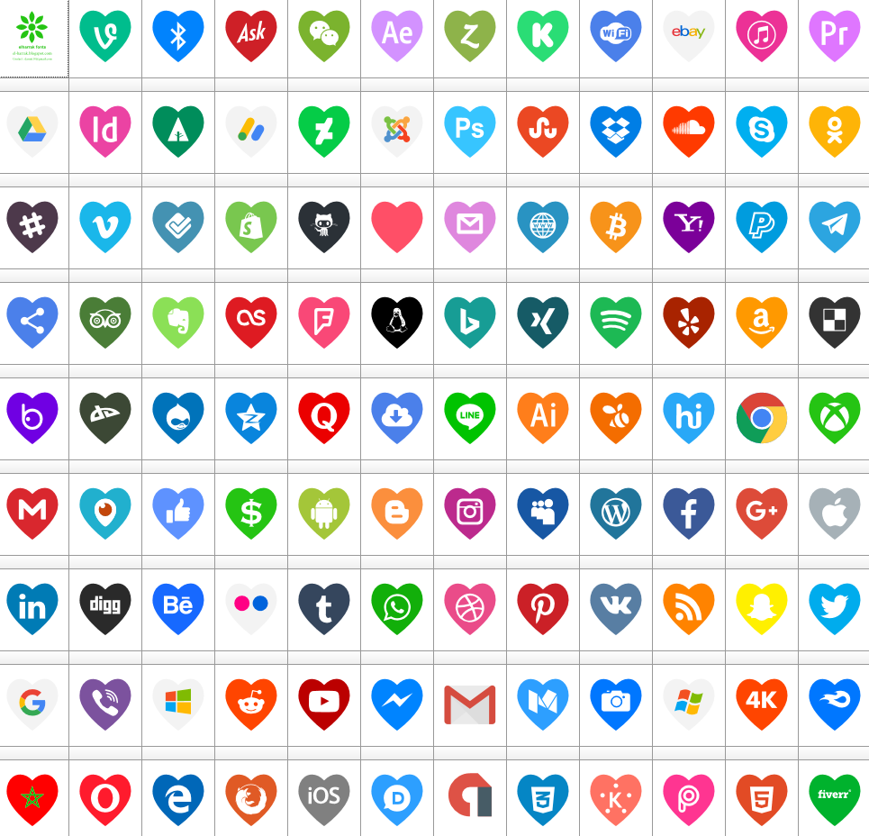 Download Font Icons Color Love 107 icons