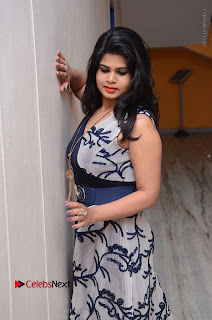 Telugu Actress Alekhya Stills in Blue Long Dress at Plus One ( 1) Audio Launch  0055.jpg