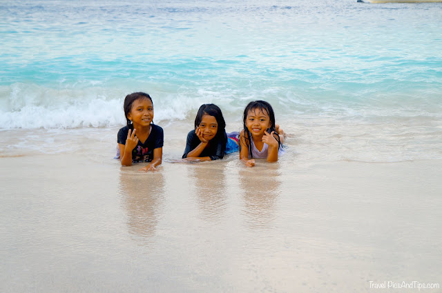 Little indonesian girls in the sea at Gili Trawangan Indonesia