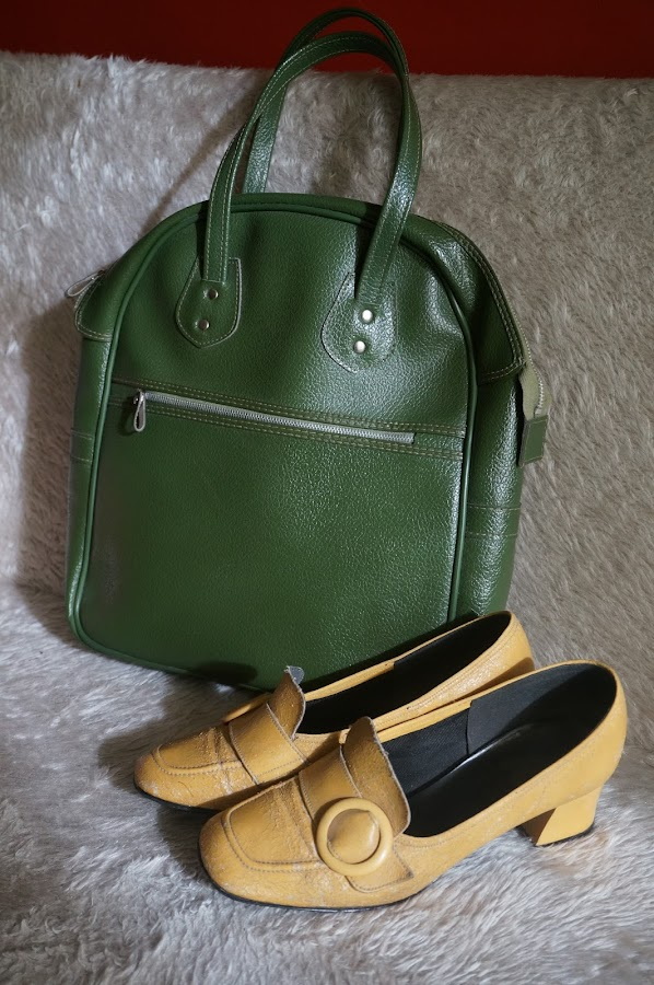 yellow chunky loafers , I've had these shoes so long they are worn thin...  classic carry on bag