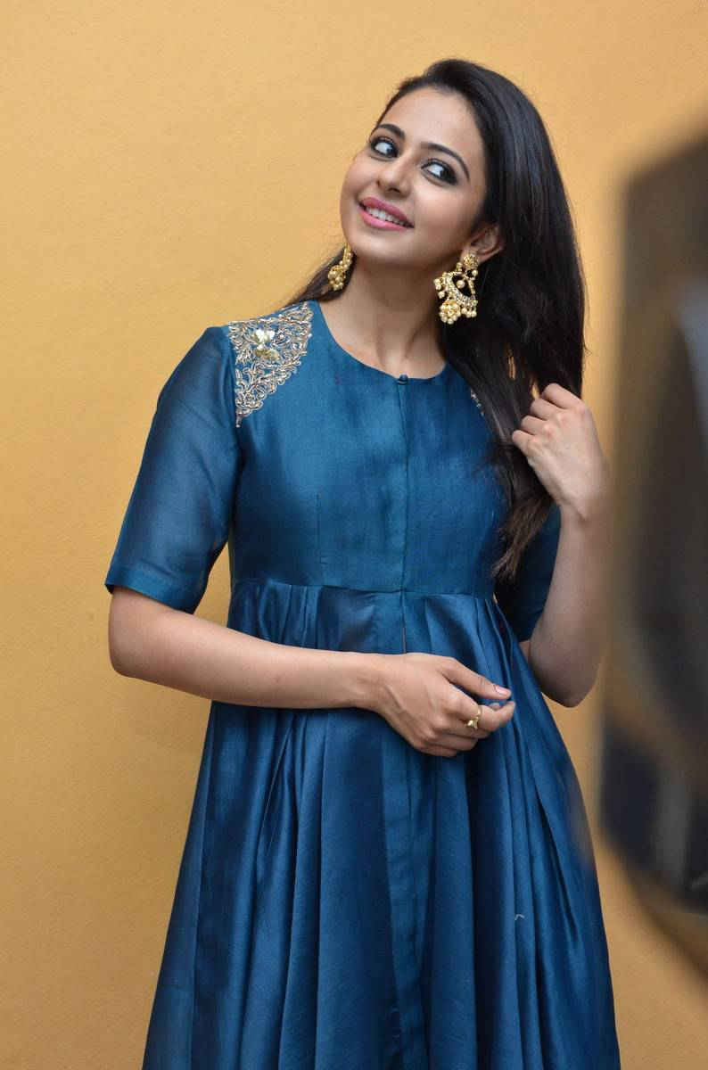 Rakul Preet Singh Looks Spicy In Colorful Blue Dress
