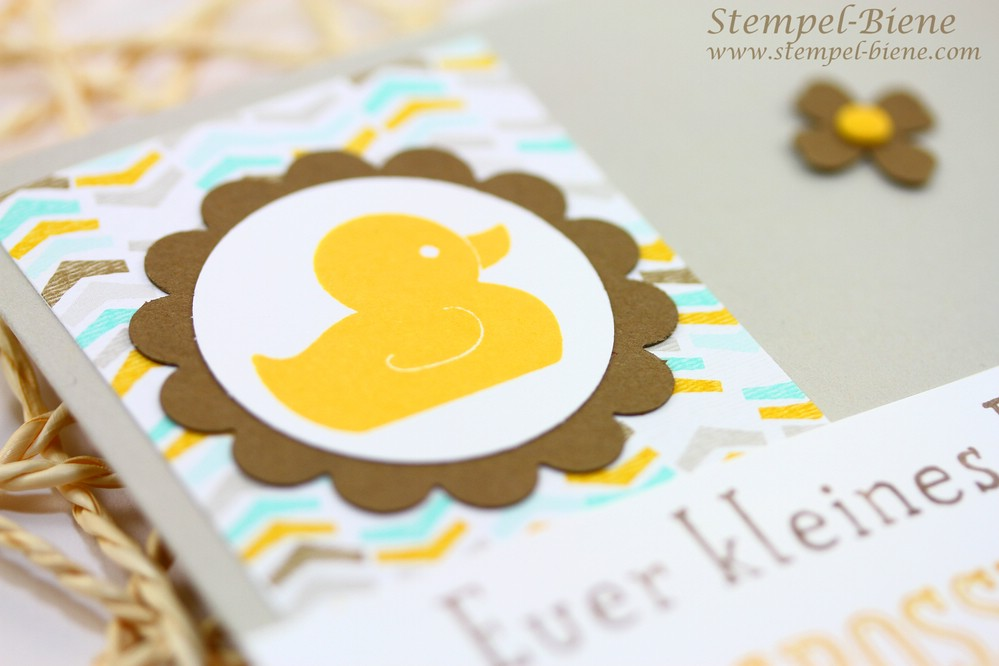 Stampin Up Sale a bration 2015, Stampin Up Die schönste Zeit, Stampin Up Großes Glück, Stampin Up Babykarte, Match the Sketch, Stampin Up Sammelbestellung