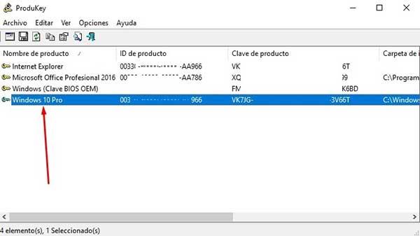 Recupera la clave de producto de Windows 10