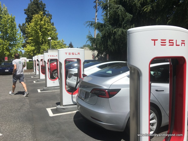 Tesla charging station behind Computer History Museum in Mountain View, California