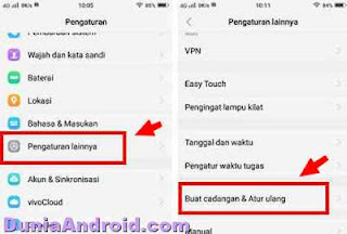 Menu reset di HP Vivo Y91