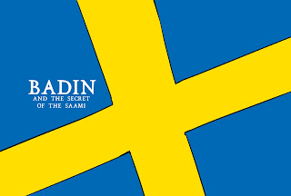 Swedish flag with Badin and the Secret of the Saami