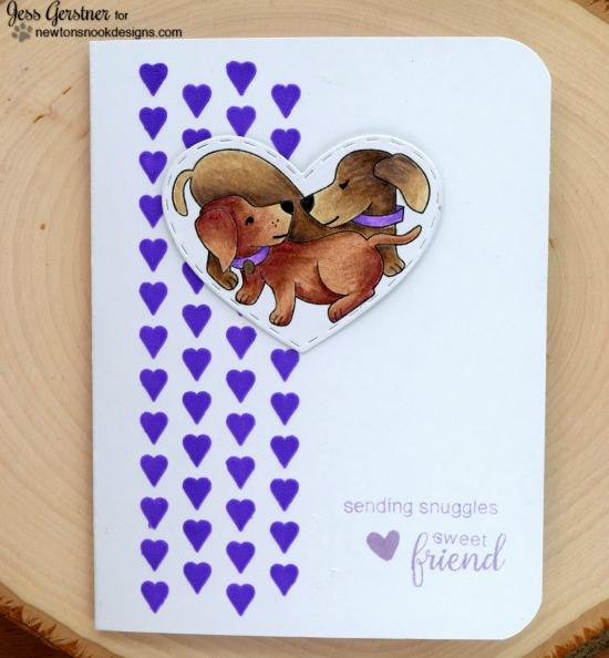 Sending Snuggles Card by Jessica Gerstner | Darling Duos Stamp set by Newton's Nook Designs #newtonsnook