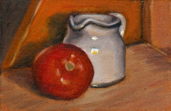 Oil painting of a red tomato in front of a small white porcelain milk jug.