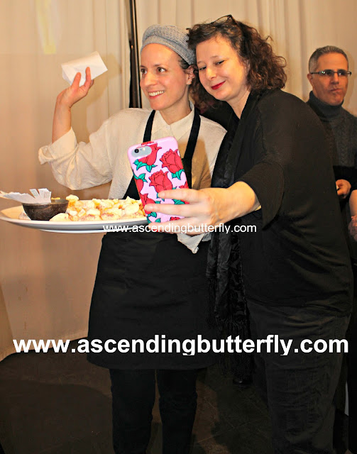Photographer Tal Shpantzer taking a selfie with Chef Tessa Liebman presents Pavlova Pastry at #Sniffapalooza #SniffaVoluptuary event @Maisonten in New York City