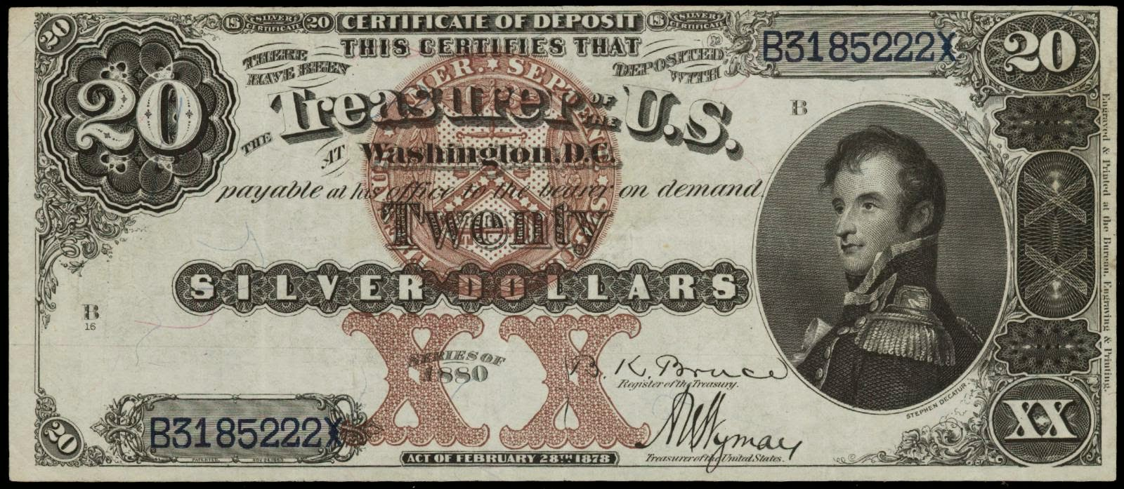 US currency 1880 Twenty Dollar Silver Certificates Decatur