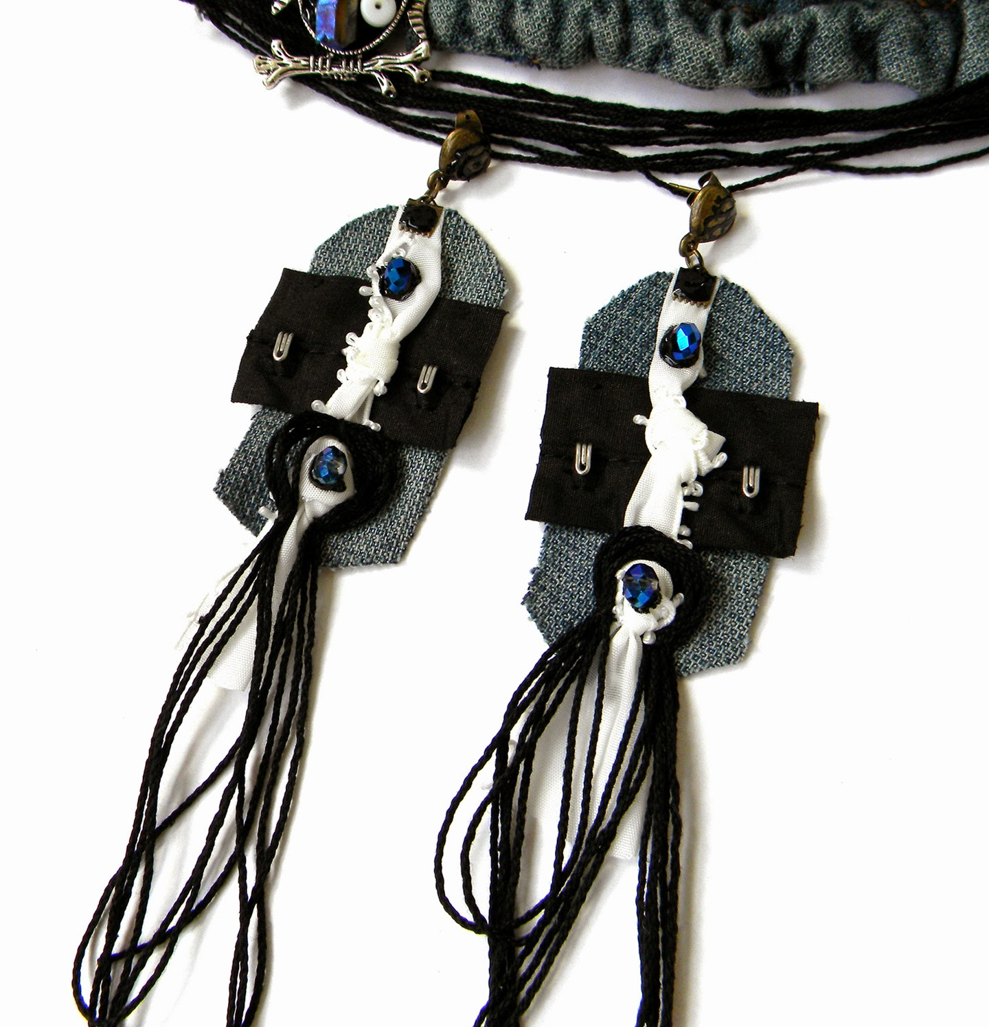 Long Textile Earrings with Black Strings and Faceted Crystal Beads