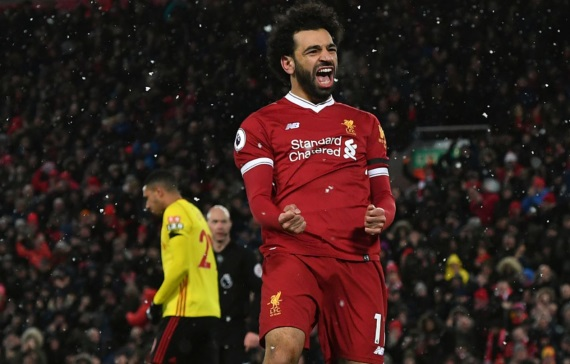 Mohamed Salah of Liverpool celebrates a goal