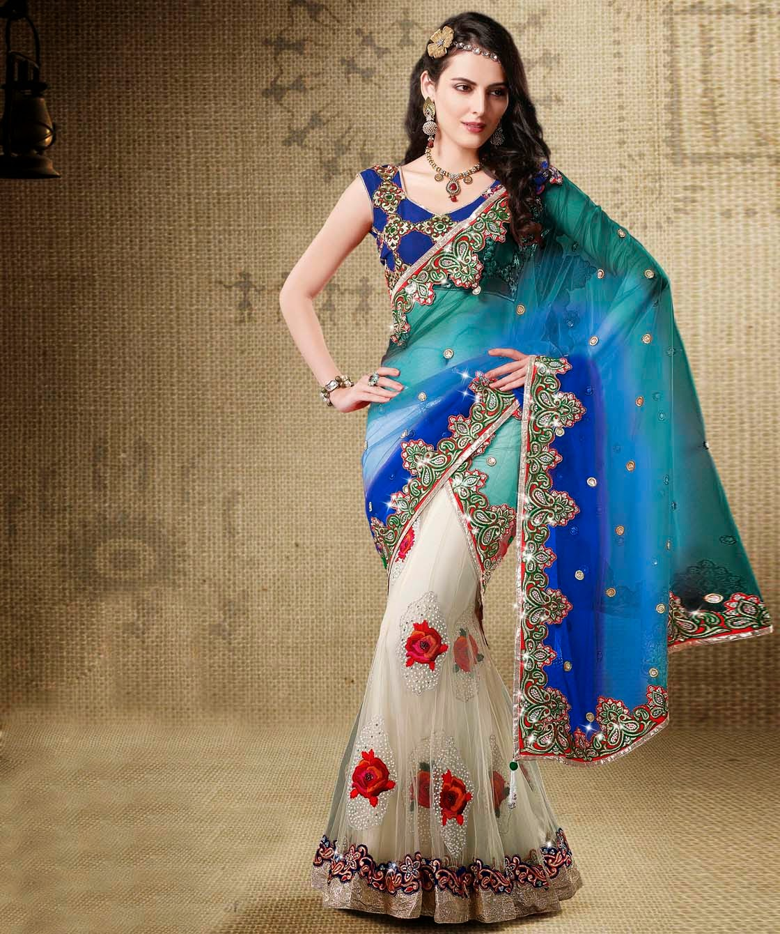 Indian Designer Fish Tail Saree Designs Price 599