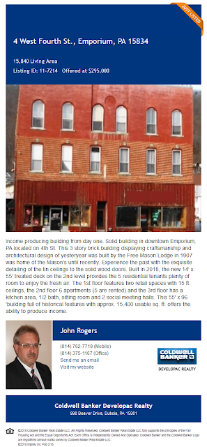 4 West 4th Street Emporium PA John Rogers Coldwell Banker Developac Realty For Sale