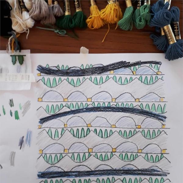 Repeat Pattern Border Needlepoint Design Development Sketch and Yarn