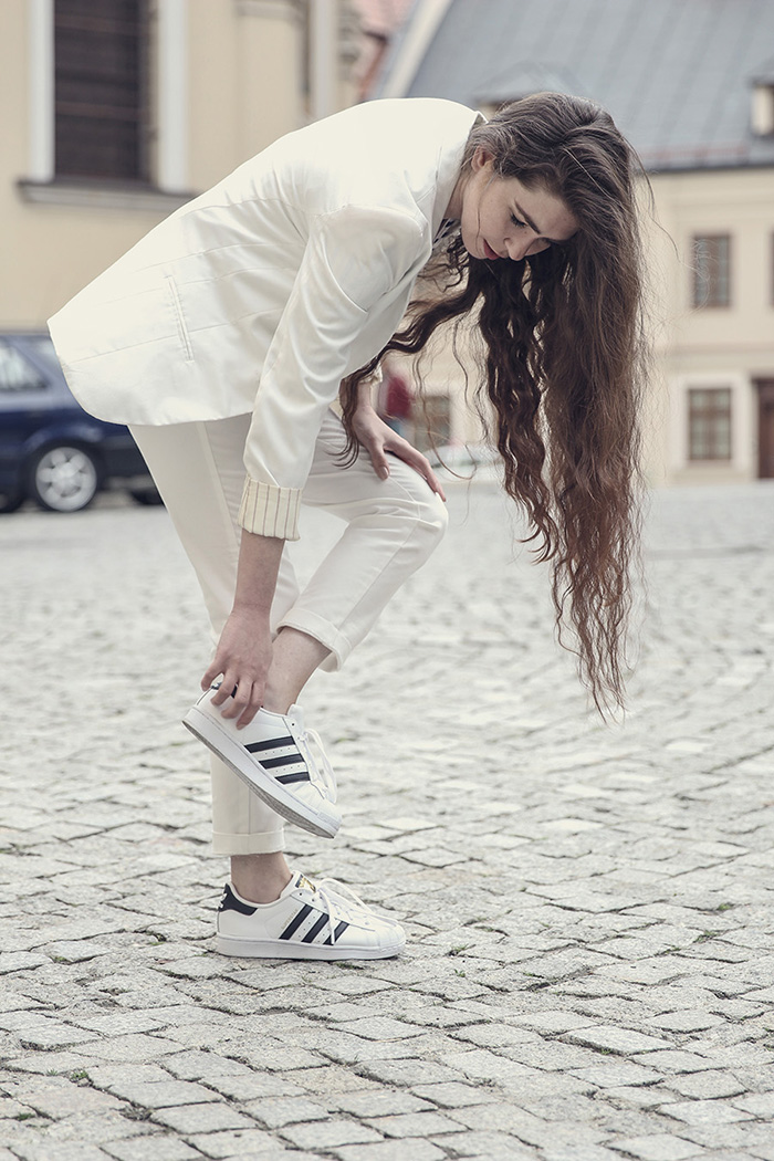 white suit adidas superstar stripes