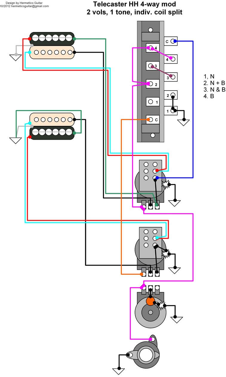 Wiring Diagram: Tele HH 4-way mod with independent volumes, 1 tone, and  coil split. Classification Guitar moded